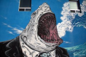 Street art on the wall of Kaktus Brewing Co. in Albuquerque