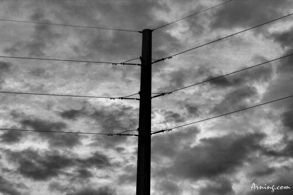 Power line by the freeway