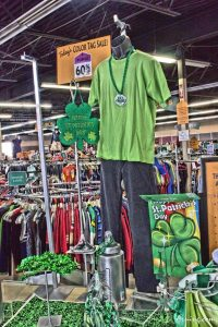 Saint Patrick's Day sale at a thrift store