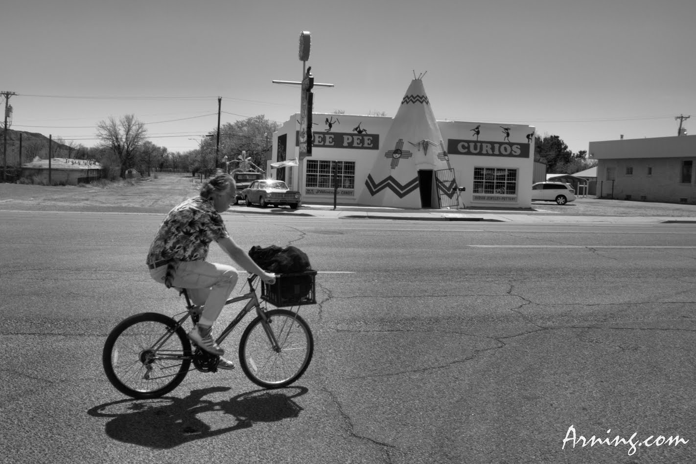 Riding on the old Route 66 in Tucumcari, NM
