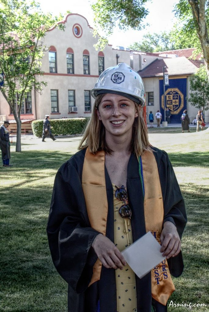 Allie's graduation from New Mexico Tech. At Tech engineers wear hard hats.